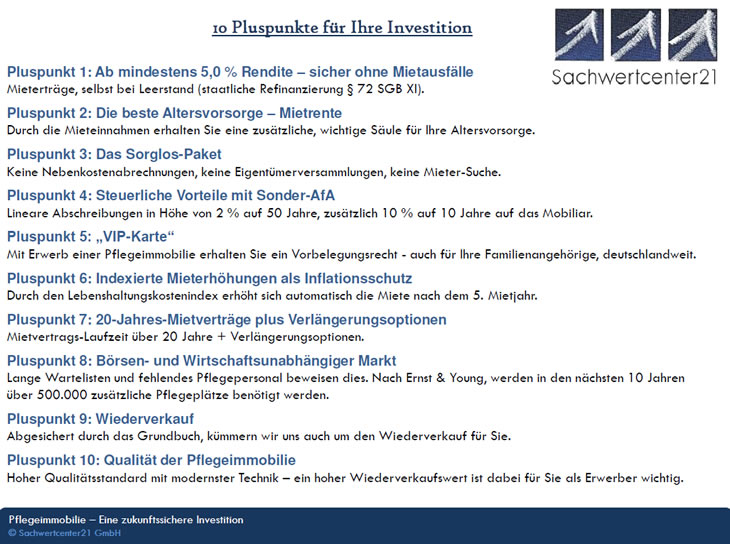 Pflegeappartements, Pflegeimmobilien als Investitionen